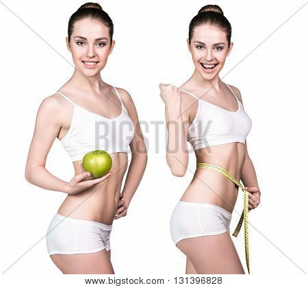 Beautiful woman holds green apple and measuring tape. Concept of dieting healthy lifestyle