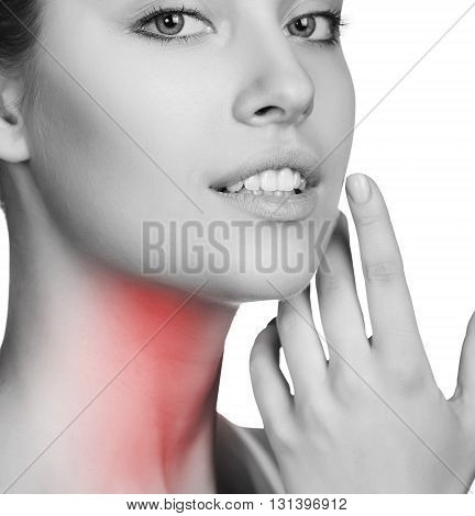Sore throat of a woman. Touching the neck. Isolated on white background.