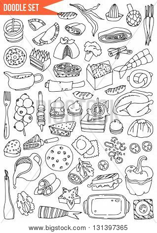 Hand drawn set - Time to cook, food, vegetables, fruits and cooking utensils