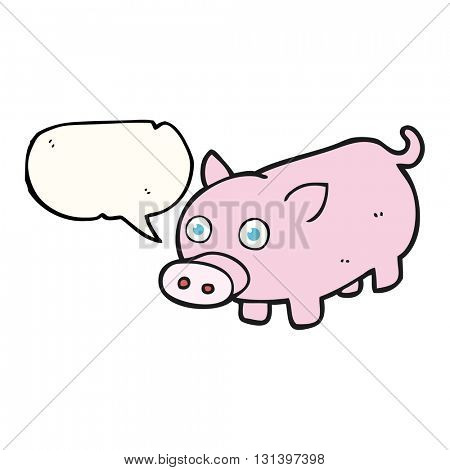 freehand drawn speech bubble cartoon piglet