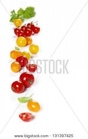 colorful tomatoes and basil over white background