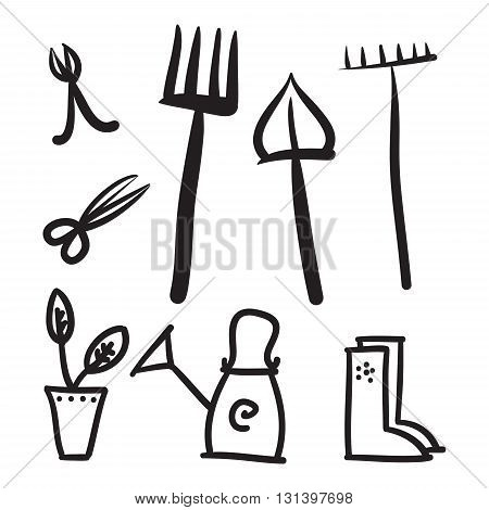 Garden tools set vector icons illustration black and white