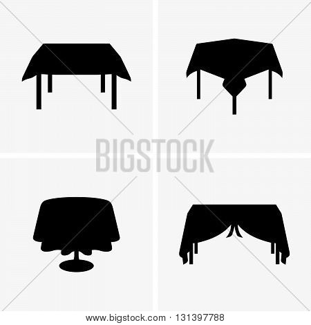 Set of four tables with tableclothes, shade pictures