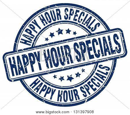 happy hour specials blue grunge round vintage rubber stamp.