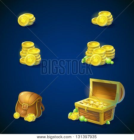 Set of objects - stack of gold coins open chest with gold coins shiny green emeralds leather inventory bag. Vector illustration.