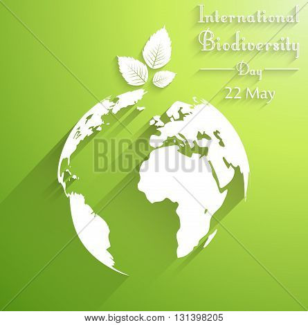 Vector illustration of International biodiversity day background with leaves of shape silhouettes