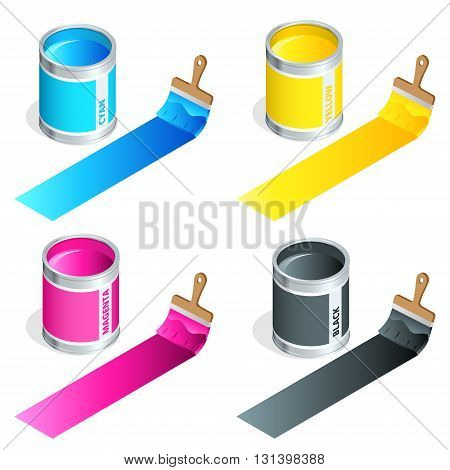 Bottles of ink in cmyk colors and paint brush on white isolated background. Flat 3d vector isometric illustration