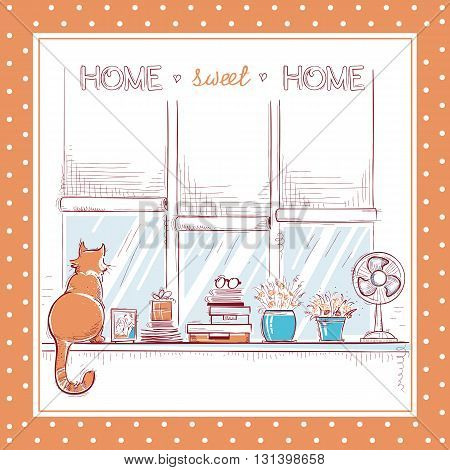 Home Sweet Card.windowsill With Home Love Objects And Cute Cat.