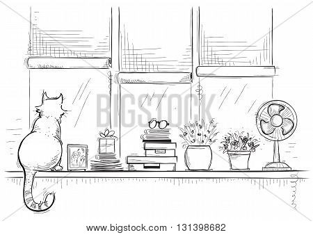 Windowsill With Home Love Objects And Cute Cat.hand Drawn Sketch Of Illustration.