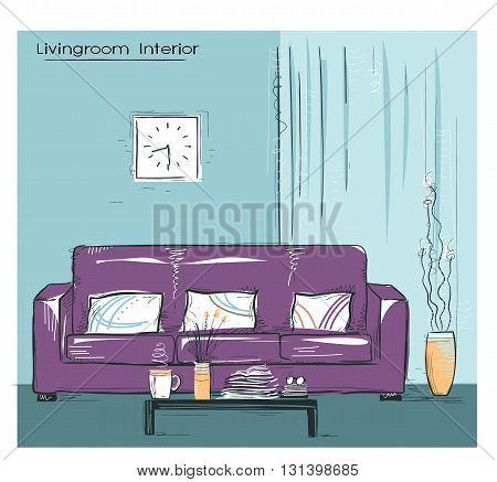 Livingroom Interior Place With Couch.hand Drawn Color Sketch