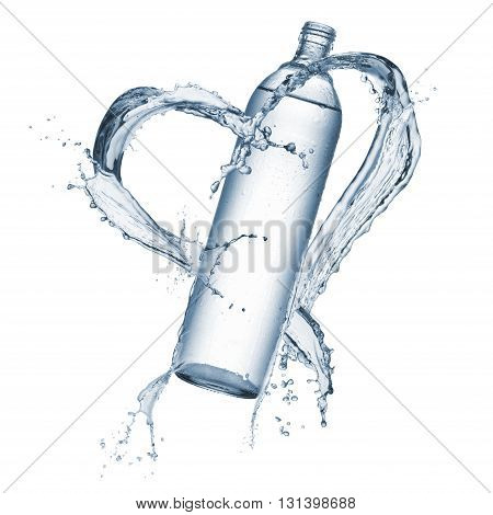 bottle of natural water with splash water heart shaped around isolated on white
