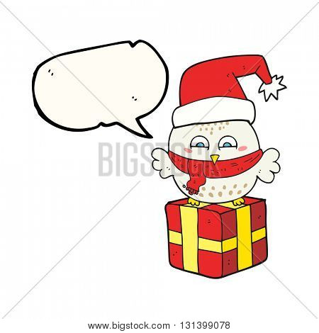 freehand drawn speech bubble cartoon cute christmas owl on wrapped present
