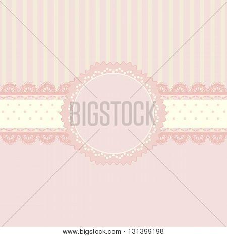 Pink and lace ribbon background vintage style Greeting card template or background