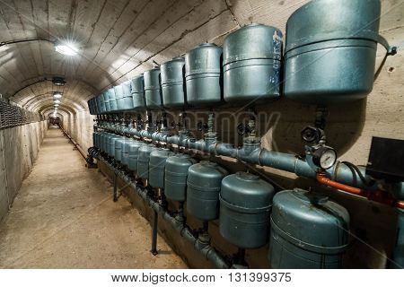 Konjic, Bosnia and Herzegovina - August 25, 2015: Inside the bunker of Josip Broz Tito near Konjic city