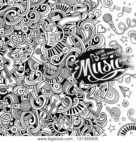 Cartoon hand-drawn doodles Musical illustration. Sketchy line art detailed, with lots of objects vector background