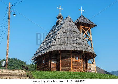 Drvengrad, Serbia - August 28, 2015: Wooden Saint Sava Church in traditional Drvengrad village