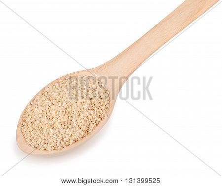 sesame seeds in wooden spoon isolated on white background. Sesame seeds with spoon isolated on white