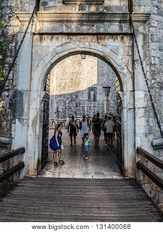 Dubrovnik Croatia - 26th August 2015. Tourists passes Pile Gate - main entry to Old Town of Dubrovnik city
