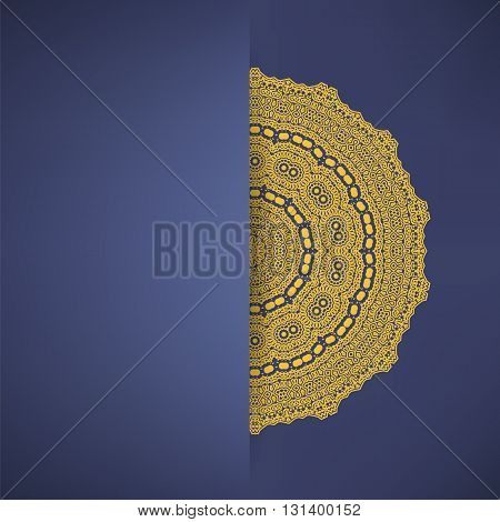 Brown Mandala Isolated on Blue Background. Round Ornament