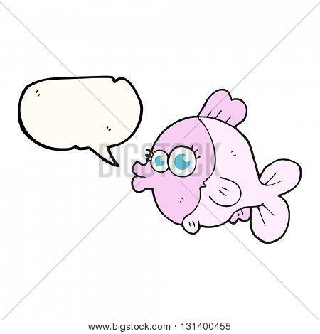 funny freehand drawn speech bubble cartoon fish with big pretty eyes
