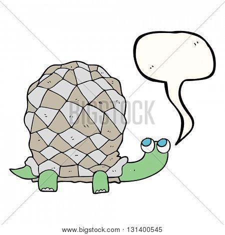 freehand drawn speech bubble cartoon tortoise