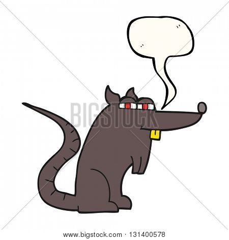freehand drawn speech bubble cartoon evil rat