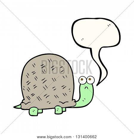 freehand drawn speech bubble cartoon sad turtle