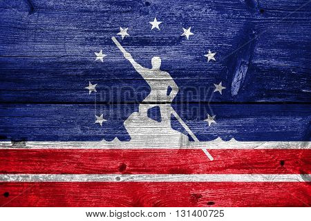 Flag Of Richmond, Virginia, Painted On Old Wood Plank Background