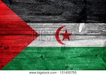 Flag Of Sahrawi Arab Democratic Republic, Painted On Old Wood Pl