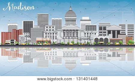 Madison Skyline with Gray Buildings, Blue Sky and Reflections. Business Travel and Tourism Concept with Modern Buildings. Image for Presentation Banner Placard and Web Site.