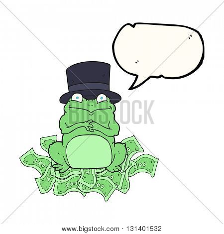 freehand drawn speech bubble cartoon rich frog in top hat