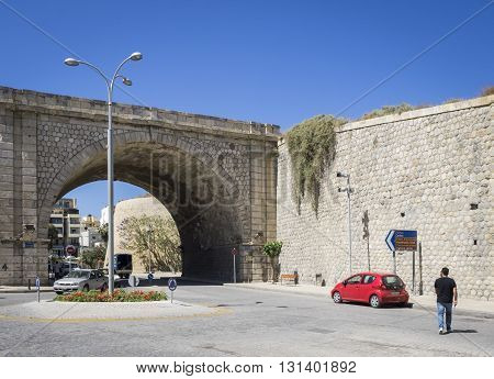 HERAKLION, GREECE - MAY 16: Detail of the Venetian wall in Heraklion, Crete at May 16, 2016