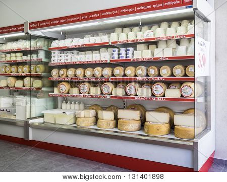 HERAKLION, GREECE - MAY 16: Local products in a cheese store in Heraklion, Crete at May 16, 2016