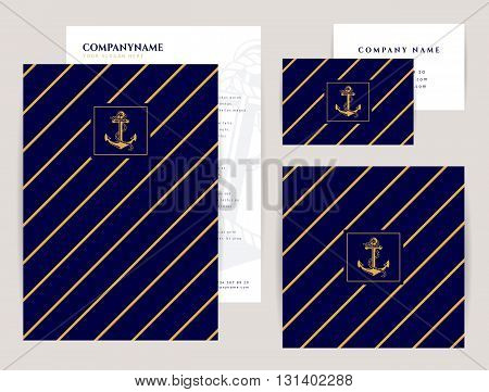 Set of corporate identity templates with anchor logo. Nautical and sea cruise themes. Flyer square banner and business card. Elegant branding design. Vector collection.