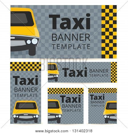 Taxi banner template set with cab on a grey black and yellow background