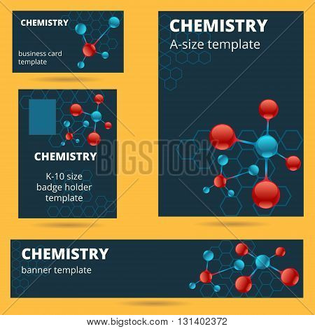 Chemistry molecule atomic theme business card badge poster and banner templates