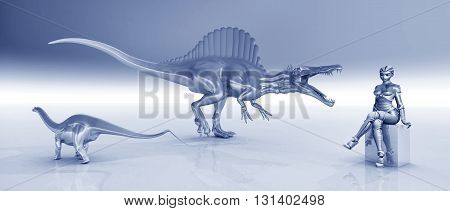 Computer generated 3D illustration with female robot and sculptures of dinosaurs