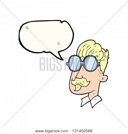 freehand drawn speech bubble cartoon man with mustache and spectacles