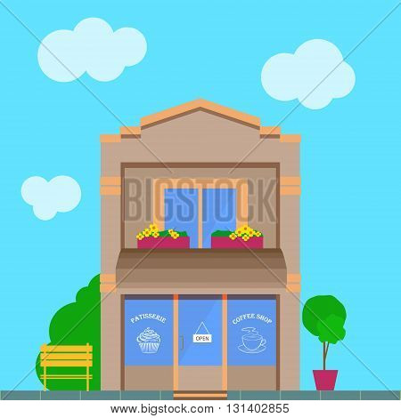 Detailed vintage old city cartoon building with coffee shop store front. Flat vector illustration patisserie facade