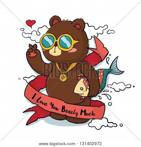 Vector Illustration of Cute Bear Holding Fish as Gift Cartoon Character with
