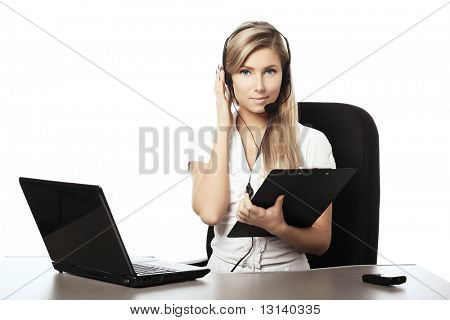 Business background: beautiful businesswoman in a work process.