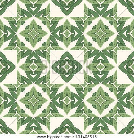 Abstract organic forms seamless background of stylized leaves and seeds in green color. Tile foliage pattern. Great for textile prints tiles and scrapbooking designs