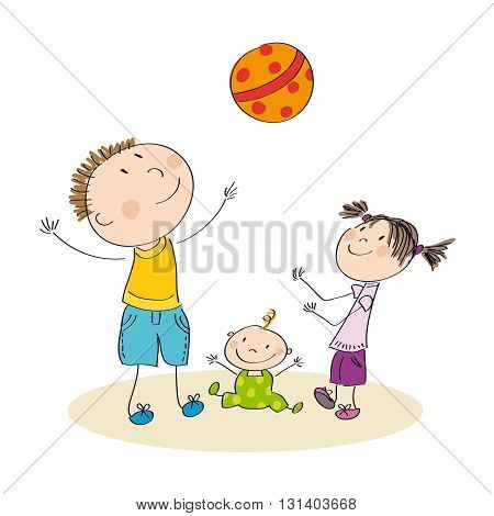 Father and his children playing with ball - original hand drawn illustration