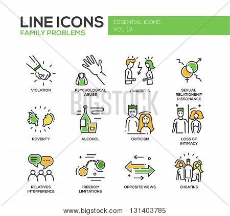 Set of modern vector line design icons and pictograms of family problems. Violation, psychological abuse, qurrels, poverty, alcohol, criticism, loss of intimacy, relatives interference, cheating