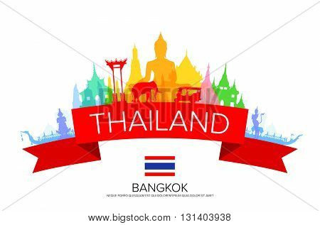 Bangkok Travel Thailand Travel. Vector and Illustration