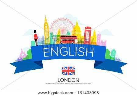 England Travel london Travel Landmarks. Vector and Illustration