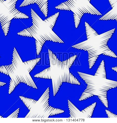 White star embroidery stitching seamless pattern .