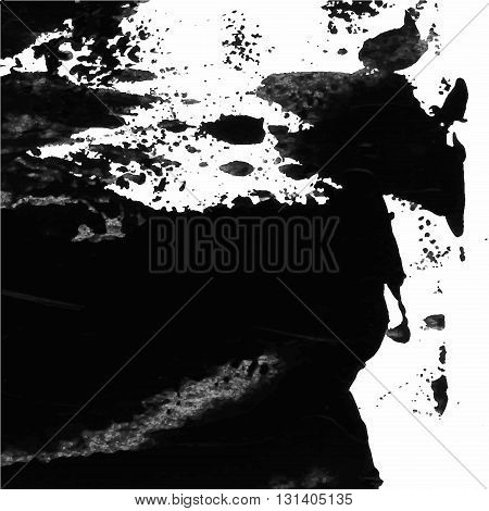 Vector Abstract Background Texture Brush Stroke Hand Painted With Acrylic Paint, Black On White..