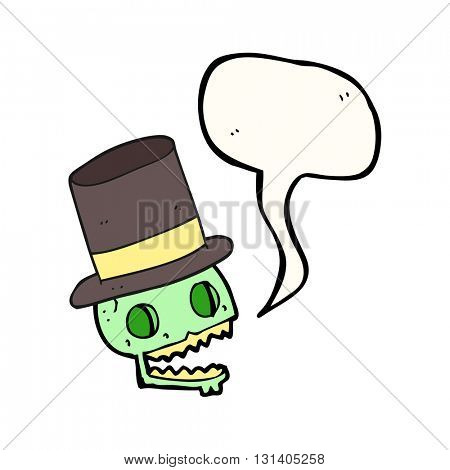 freehand drawn speech bubble cartoon laughing skull in top hat