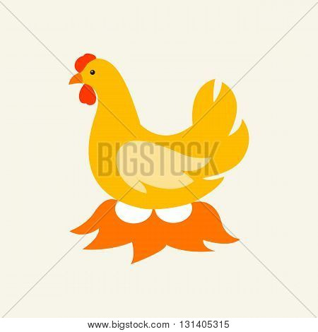 Vectoe chicken and eggs illustration. The hen incubates the eggs in the hay.